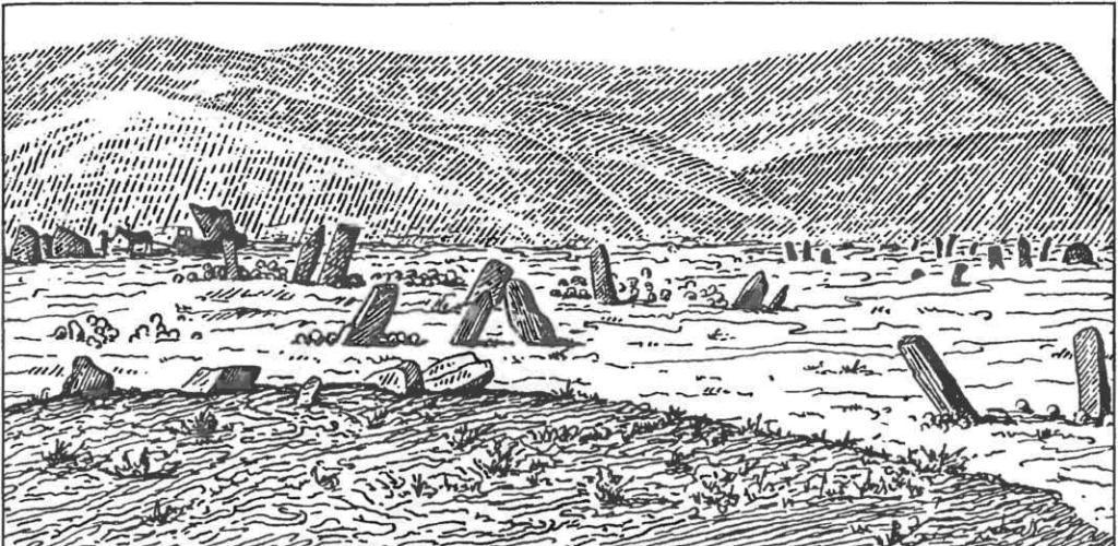 Хакасия. Общий вид могильника-чаатас Красный Камень