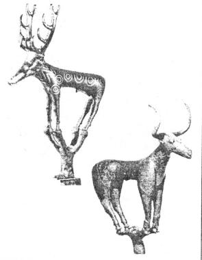 Рис. 54. Бронзовые фигурки оленя и быка из могильника Аладжа [Mellaart J., 1966].