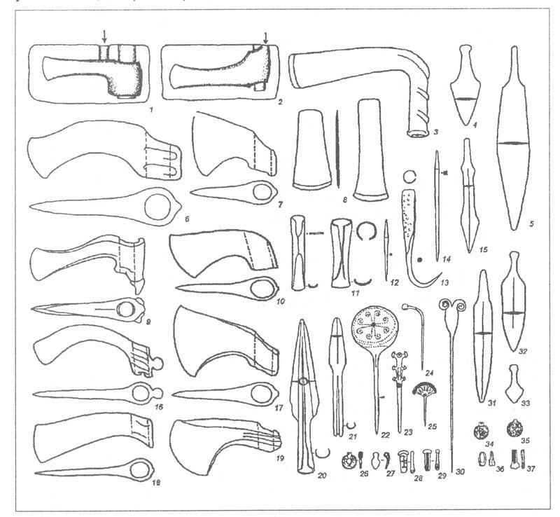 Рис. 50. Набор изделий, характерных для среднего бронзового века в пределах Циркумпонтийской металлургической провинции. 1, 2 - закрытые литейные формы для отливки топоров; 3 - топор трубчатообушный; 4, 5, 15, 31, 32 - ножи-кинжалы двулезвийные; 6, 7, 9, 10, 16-19 - топоры вислообушные; 8 - тесла плоские; 11 - долота втульчатые; 12, 14 - шилья; 13 - крюк; 20, 21 -наконечники копий; 22-30, 33-37 - украшения.