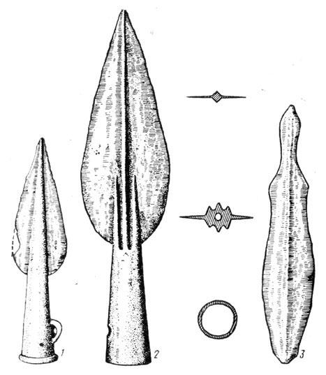 Рис. 76. Бронзовое оружие первого периода Срубной культуры: 1,2 — наконечники копий, 3 — кинжал