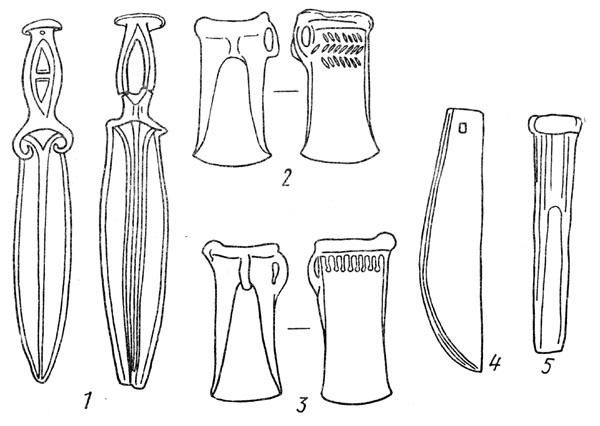 Рис. 81. Вещи из клада у Сосновой мазы: 1 — кинжалы, 2, 3 — кельты, 4 — косарь, 5 — долото