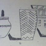 Рис 3. Сосуды из могильника Преображенка-З; а) курган № 2, б) курган № 8, мог. 5; в) курган № 8, мог. 6.