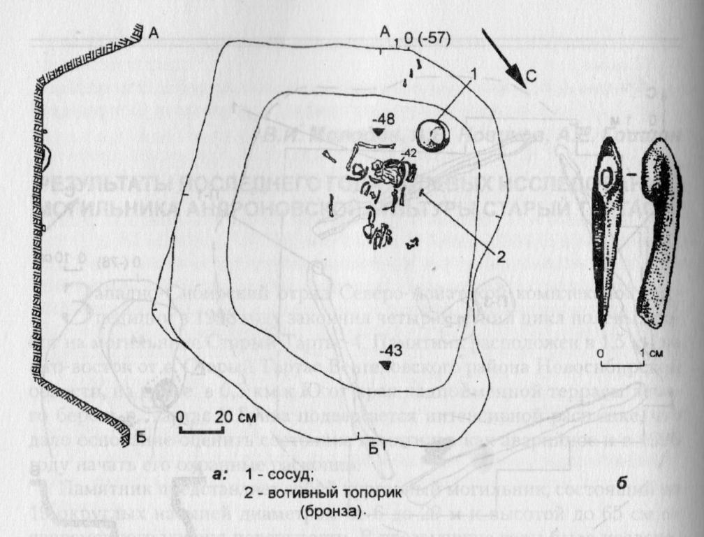 Рис. 2. План погребения № 1 кургана № 17 (а), вотивный бронзовый топорик (б).