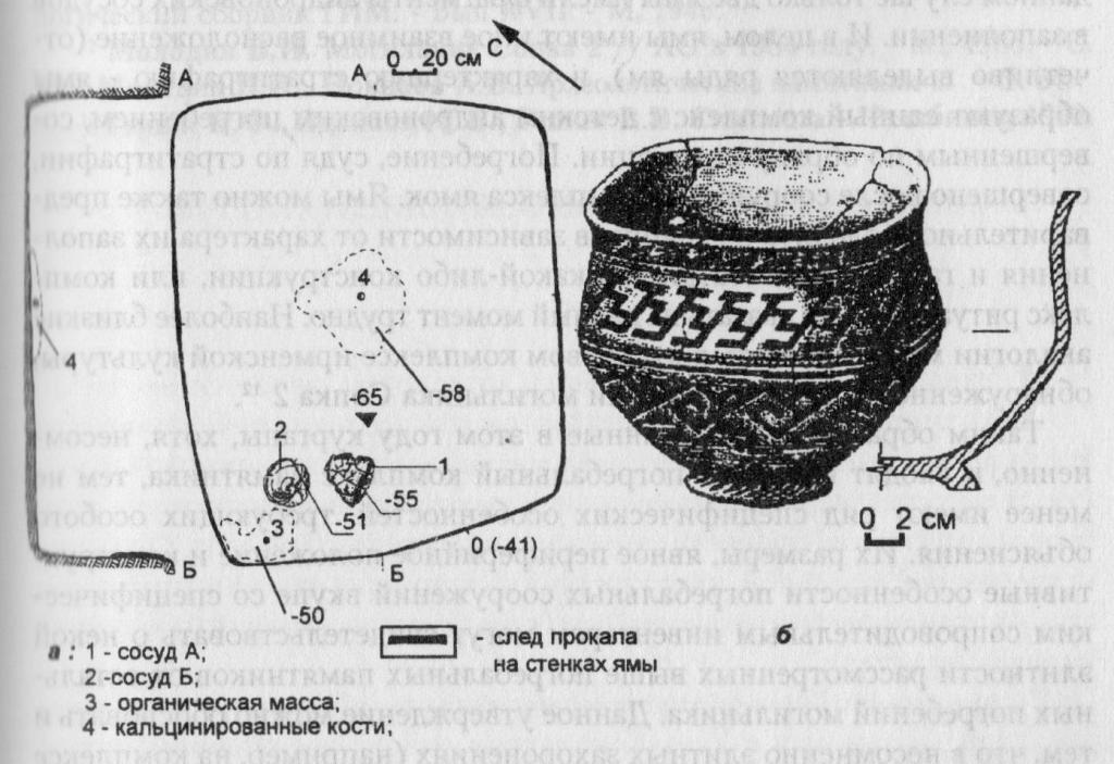 Рис. 3. План погребения N 1 кургана N 16 (а), сосуд А (б)