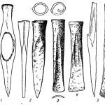 Рис. 61. Бронзовые инструменты из Баландина. 1 — топор; 2—4 — долота; 5 — тесло; 6 — стамеска.