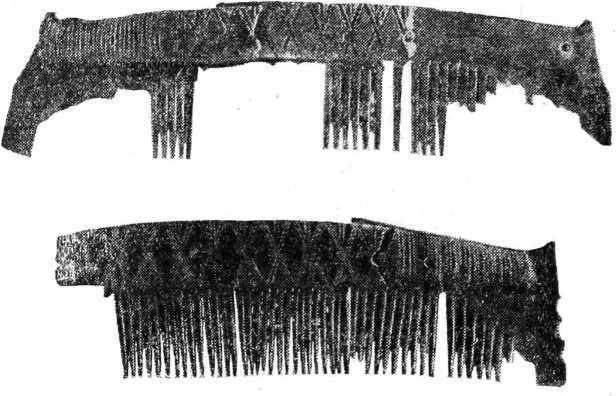 Рис. 27. Старая Ладога. Костяные орнаментированные гребни из горизонта XI—X вв.