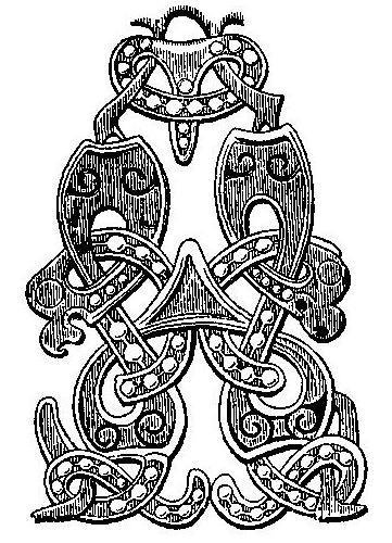 Рис. 117. Стилизованный звериный орнамент на серебряной фибуле из Эстра Херрестад, Сконе