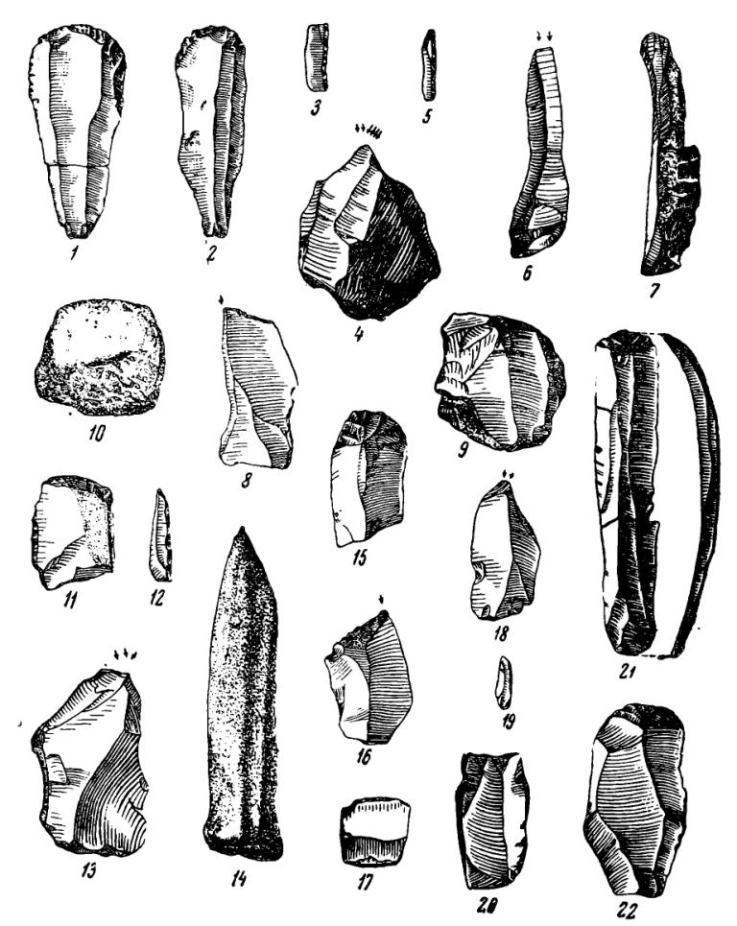 Рис. 12. Владимировская палеолитическая стоянка. Кремневые и костяные орудия 4-8-го слоев