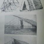 Рис. 19. Строительство экспериментальных жилищ. 1,2 — трипольского типа; 3, 4 — северо-западного типа.