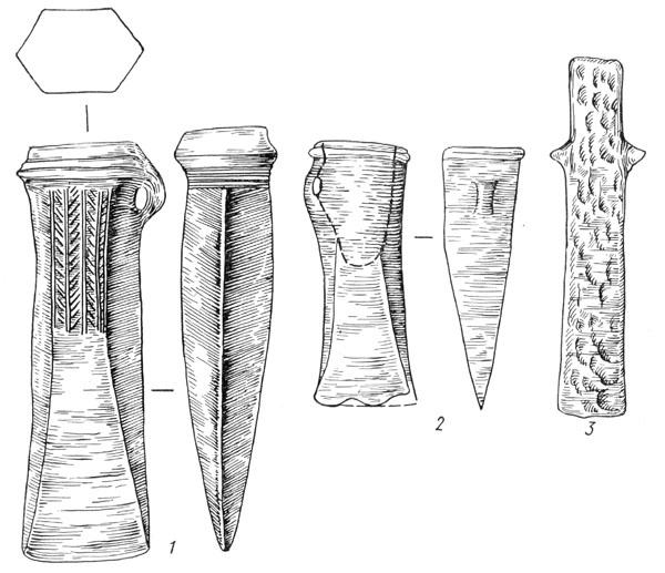 Рис. 118. Бронзовый кельт (1) с Субботовского городища, железный кельт (2) из с. Зарубинцы, железное тесло (3) с Субботовского городища