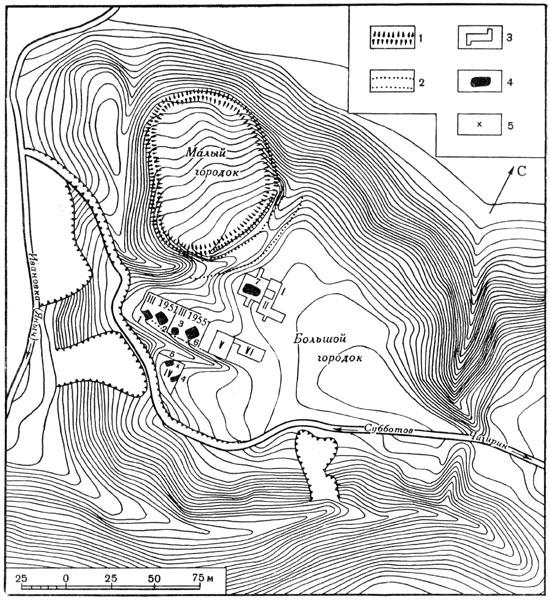Рис. 111. План Субботовского городища: 1 — вал, 2 — ров, 3 — раскопы, 4 — землянки, 5 — клады