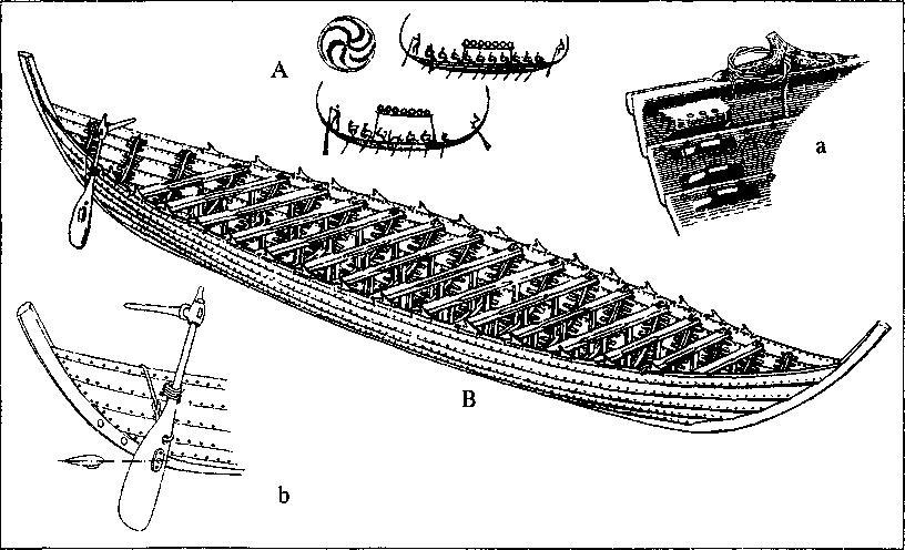 Рис. 18. Судно из Нидама, вторая половина IV в. А — Изображения судов IV-V вв. с поминальных камней; В — реконструкция судна из Нидама: а — уключина и крепление набора обшивки; Ь — крепление рулевого весла