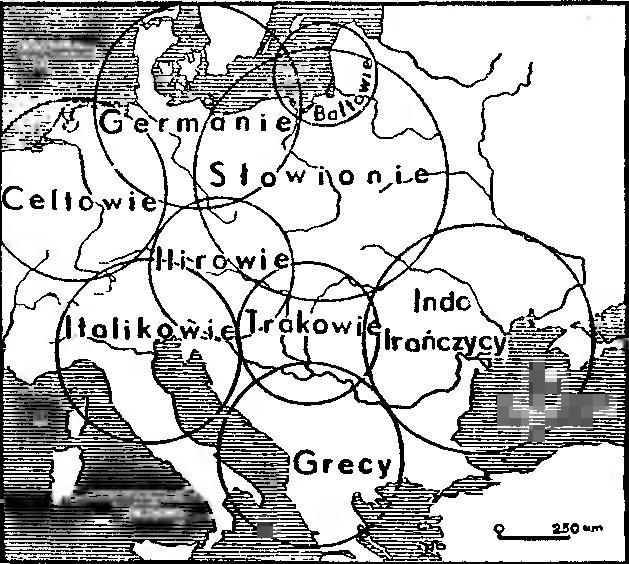 Рис. 6. Схема размещения европейских этносов в древности по Х. Хирту, локализованная на географической карте Т. Сулимирским