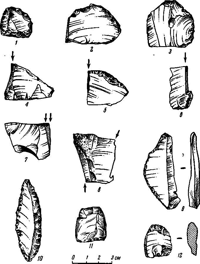 Рис. 11. Каменный инвентарь стоянки Сунгирь