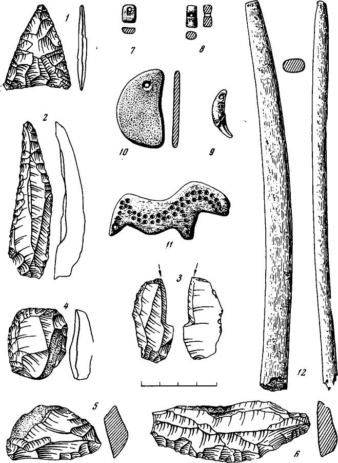Рис. 2. Каменные (1—6, 10) и костяные (7—9, 11, 12) изделия из культурного слоя стоянки Сунгирь