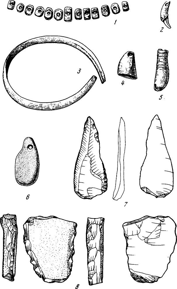 Рис. 5. Костяные (2—5) и каменные (6—5) предметы из могилы на Сунгире