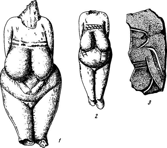 Рис. 7. Костяные статуэтки (1, 2) и фрагмент плитки с гравированным изображением человека (3). Костёнки I