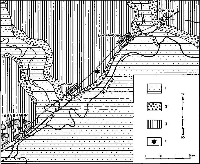 Рис. 7. Геологическая карта четвертичных отложений окрестностей палеолитической стоянки у Доброго села 1 — современные аллювиальные песчано-глинистые отложения; 2 — древнеаллювнальвые отложения надпойменных террас; 3 — моренные глины и су¬глинки с гравием и валунами преимущественно осадочных пород, неповсеместно перекрываемые аллювиально-делювиальными отложениями — песками и суглинками; 4 — позднепалеолитическая стоянка
