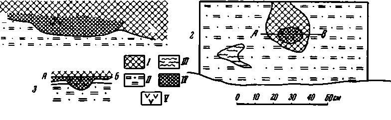 Рис. 9. Разрез очажной ямы на участке 50 стенки карьера (1); план смежного очажного углубления на дне того же участка (2) и его разрез по А—В (3). 1 — культурный слой; II — суглинок; III — примесь золы; IV — очажный слой; V — угли