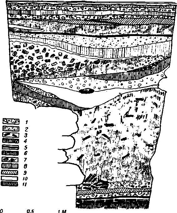Рис. 43. Суздаль. Рождественский собор. Профиль напластований у стен собора. 1 — щебень, 2 — известь и песок, 3 — кирпич XI в., 4 — темная земля, 5 — прослойка черной земли, 6 — черная сырая земля, 7 — кирпич XVI — XVII вв., 8 — серая земля, 9 — глина, 10 — известь, 11 — серая земля с известью.