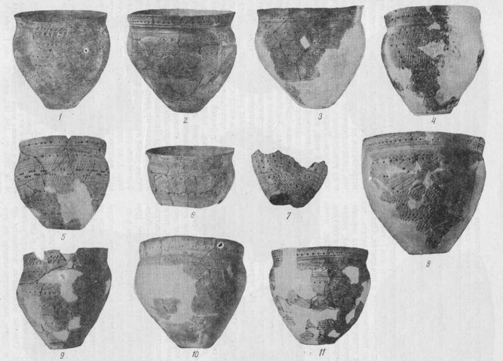 Таблица I. Сузгунская керамика I типа. Сосуды из раскопок Сузгуна II.