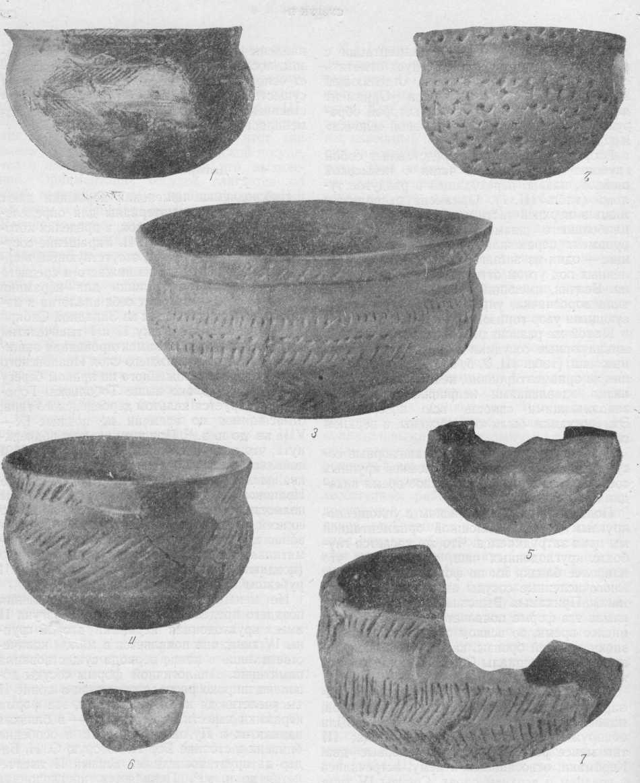 Таблица III. Сузгунская керамика IV типа. Сосуды из раскопок Сузгуна II. 1, 4 - около 1/3 н. в.; 2 - около н. в.; 3 - около 2/5 н. в.; 5-7 - около 1/2 н. в.