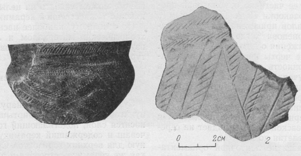 Рис. 4. Сосуд (1/3 н. в.) из раскопок Сузгуна II (керамика III группы) и обломок сосуда из Второй Мысовской стоянки.