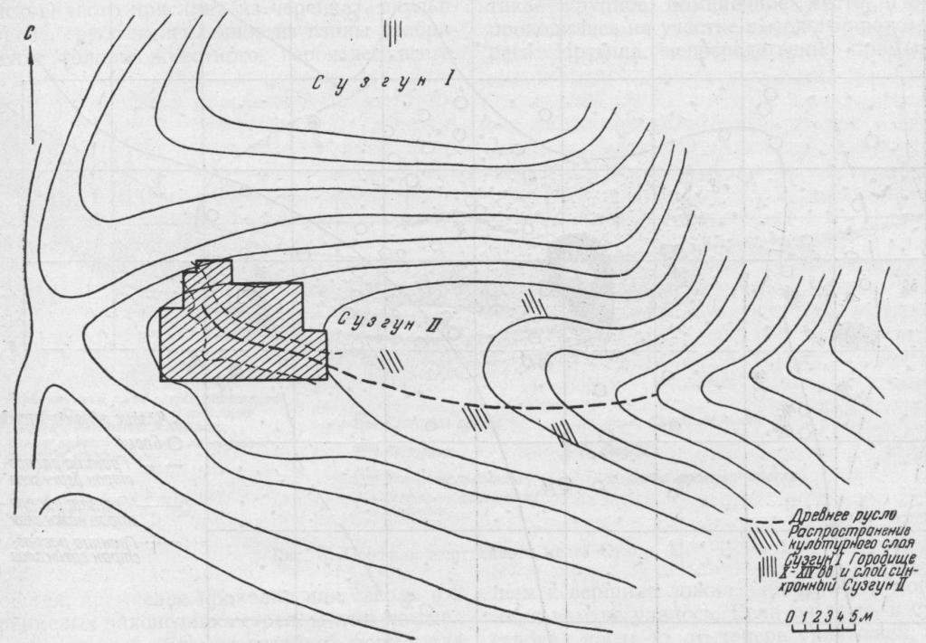 Рис. 1. Схема расположения археологических памятников в урочище Сузгун.