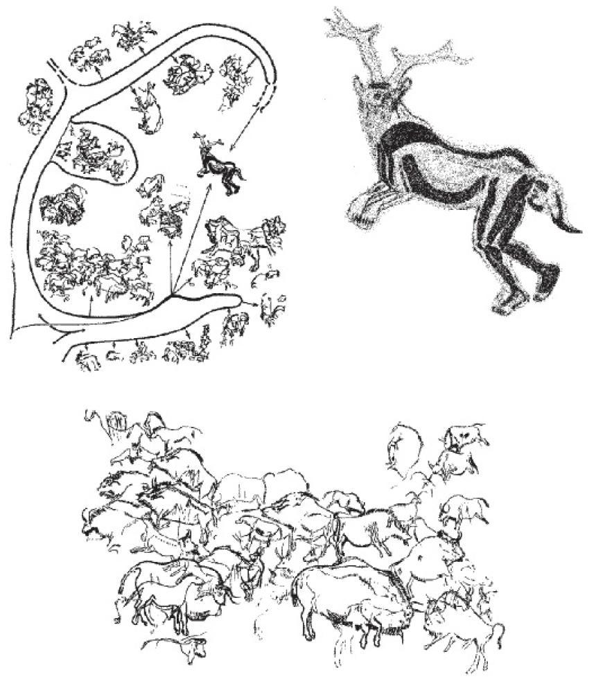 Рис. 44. «Святилище» верхнепалеолитичесюй пещеры «Труа Фрэр», Франция: общая схема (вверх/, слева), панно с центральной фигурой человеке-бизона (внизу), фигура «колдуна» (вверху, справа).
