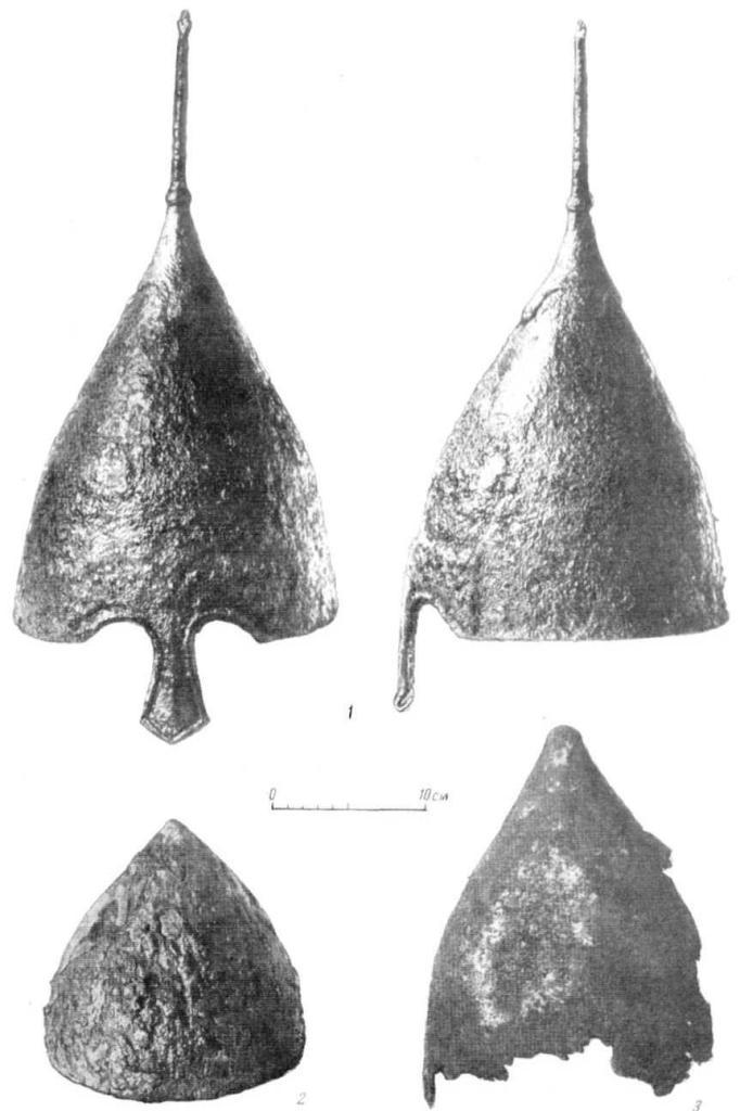 Т аблица XII. Шлемы XII — 1-й пол. XIII в. 1 — Таганча № 16); 2 — Киев (№ 10); 3 — Мировка (№ 17).