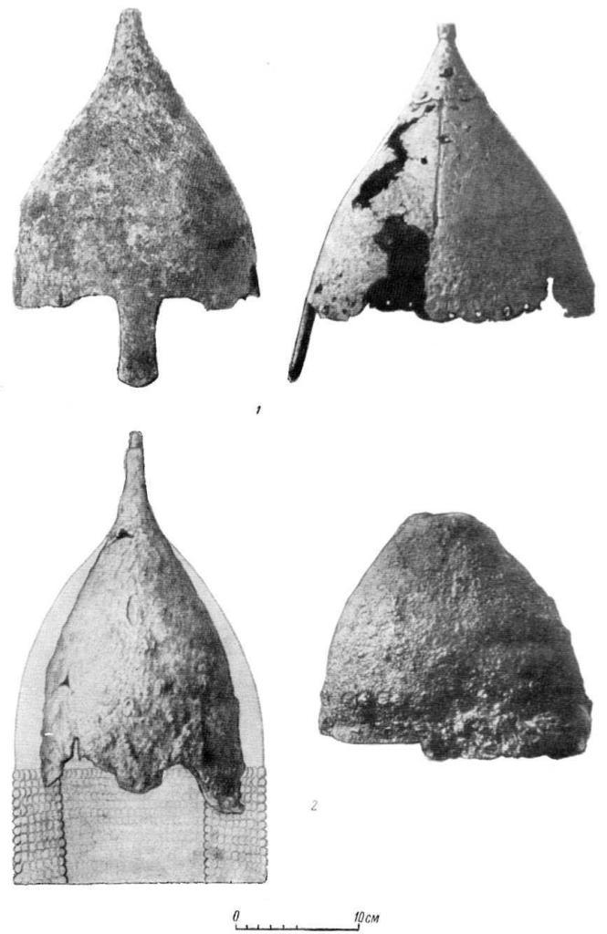 Таблица XIII. Шлемы XII—XIII вв. 1 — Украина? (№ 20); 2 — Бурты (№ 14; олова рисунок из архива Н. Е. Бранденбурга).