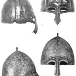 Таблица XVI. Шлемы 2-й пол. XII — 1-й пол. XIII в. 1 — Никольское (№ 25); 2 — Киев (№ 27).