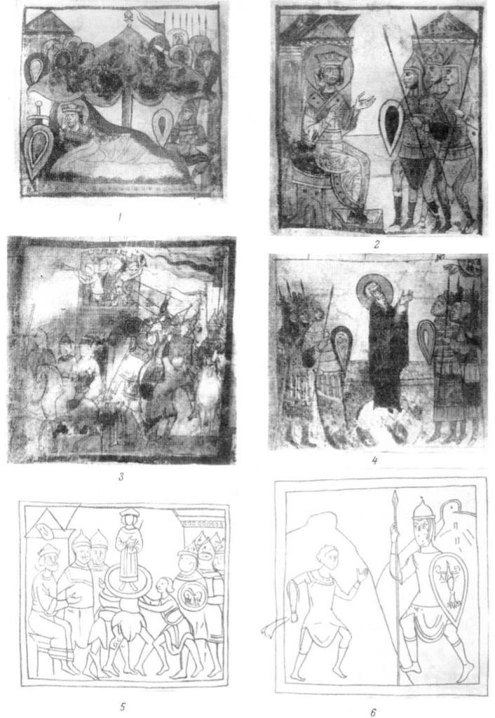Таблица XXII. Миниатюры Тверского Амартола, ок. 1300 г. Константина Великого в лагере; 2 — Константин возглашает свои заветы; 3 — взятие Рима галлами; 4 — молитва Феодосия; 5 — поставление царем Соломона; 6 — борьба Давида и Голиафа.