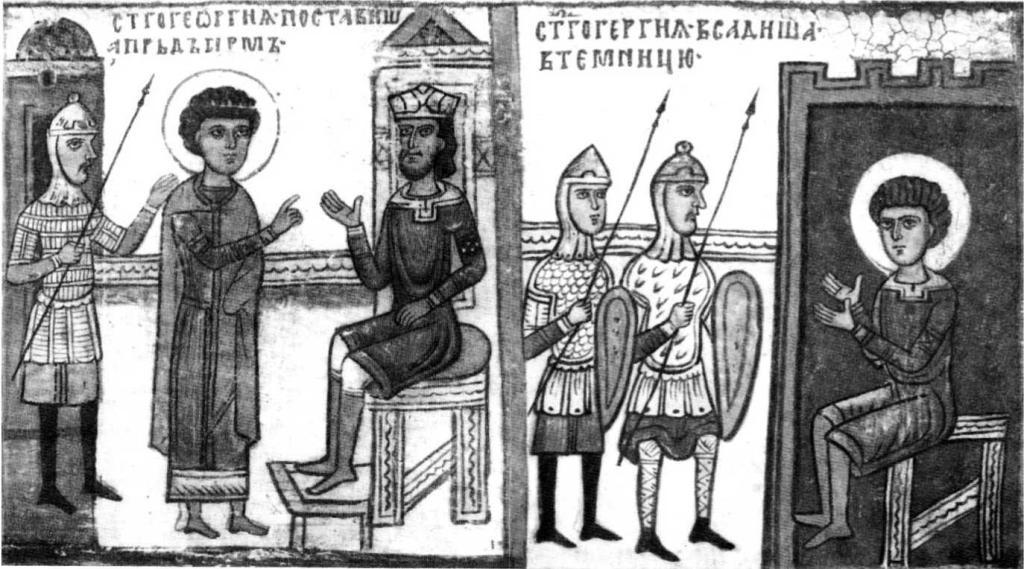 Таблица VI. Клейма житейной иконы «Св. Георгий» начала XIV в. Гос. Русский музей.