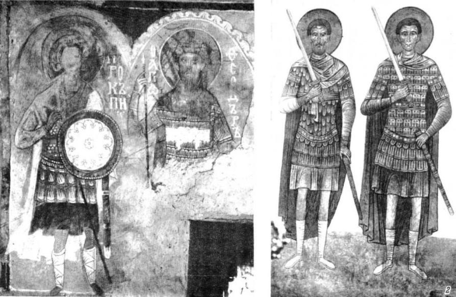 Таблица VII. Святые воины. Фрески. 1 — Нередица, ок. 1199 г.; 2 — Спасо-Мирожский монастырь, ок. 1156 г.