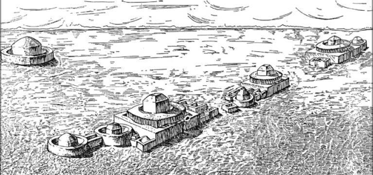 Рис. 3.15. Тагискен. Общий вид мавзолеев. Реконструкция М.П. Грязнова