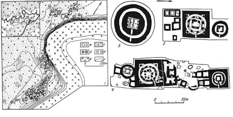 Рис. 3.16. Тагискен. План-схема местности (1) и схемы мавзолеев (2-4) (по М.А. Итиной)