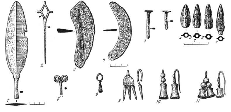 Рис. 3.17. Северный Тагискен. Изделия из бронзы (по М.А. Итиной)