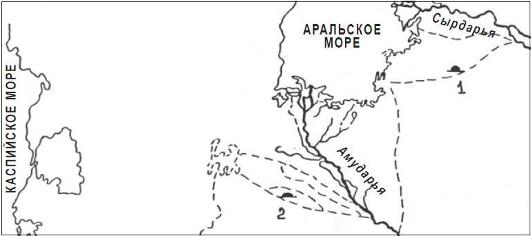 Рис. 4.26. Карта-схема могильников в Приаралье: 1 — Тагискен и Уйгарак; 2 — Сакар-чага и Тумек-Кичиджик