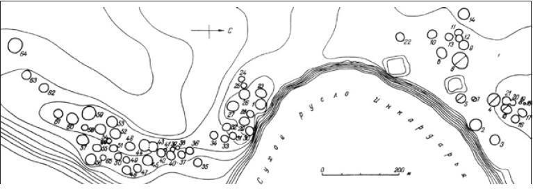 Рис. 4.27. Могильник Южный Тагискен. Общий план. Перечеркнуты раскопанные сооружения эпохи поздней бронзы