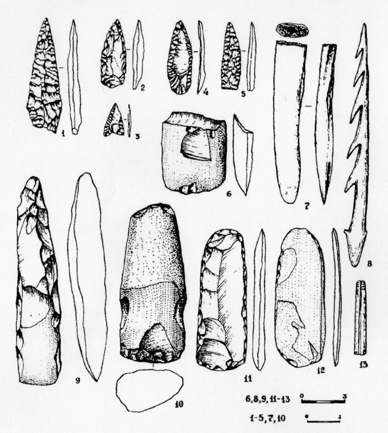 Рис. 1. Костяной и каменный инвентарь поселения Танай-4а (раскопки 1997 г.).