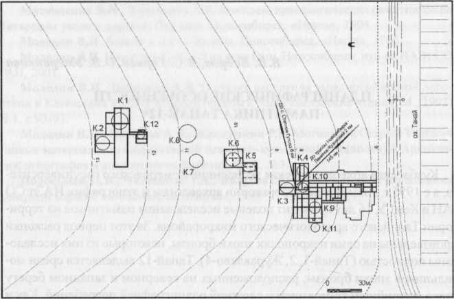 Рис. I. Ситуационный план могильника Танай-12.