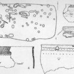 Рис.1. Поселение Танай-4. 1 - план сооружения 7; 2 - сосуд; 3,4,5 - сосуды из ям сооружения 7.