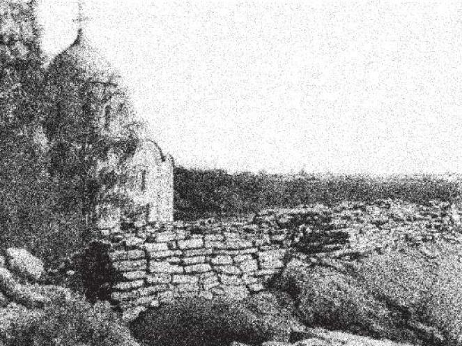 Рис. 22. Стена из известняковых плит на земляном валу, 1114 г., Старая Ладога.