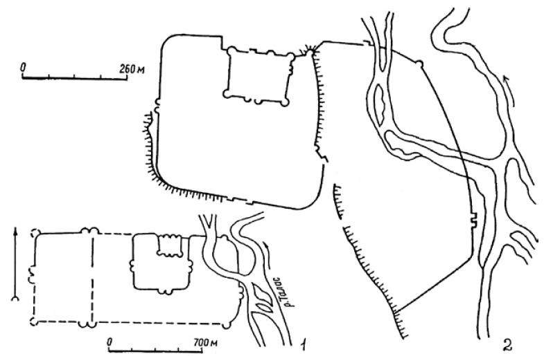 Рис. 6.3. План г. Тараз VI—XVI вв. (1) (по Т.Н. Сениговой) и крепость Аулие-Ата 1864 г. (2) (по А.И. Макшееву и В.А. Каллаурову)