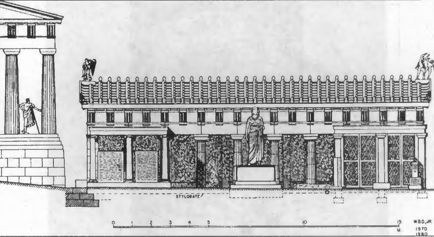 Царский портик. Вид с востока. Реконструкция.
