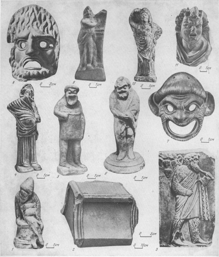 Таблица CXVIII. Театр и актеры 1 — актер, сидящий на алтаре, V в. до н. э.; 2 — кресло из театра, Пантикапей, IV в. до н. э.; 3 — актер в виде силена, IV в. до н. э., Пантикапей; 4 — актер в женской роли, IV в. до н. э., Большая Близница; 5 — актер в маске раба, IV в. до н. э., Большая Близница; 6 — актер в маске раба, IV в. до н. э., Пантикапей; 7 — маска раба, IV в. до н. э., Ольвия; 8 — трагическая маска, I в. н. э., Пантикапей; 9 — трагический актер, I в. н. э.; 10 — актер в женской роли, IV в. до н. э., Пантикапей; 11 — актер в маске Сатира, II в. до н. э., Пантикапей 1, 4—11 — терракоты, 2, 3 — мрамор. Составитель М. М. Кобылина