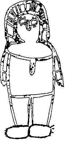 Рис. 33. Изображение вонджины выполнено вдавлением пчелиного воска (реконструкция), Кимберли, Западная Австралия. Вонджины - божества воды всегда изображались без рта, считалось что иначе они затопили бы землю