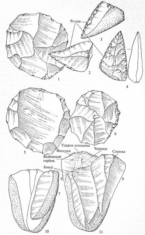 Рис. 8. Техніка обробки кременю середнього палеоліту: дископодібний нуклеус (1) і трикутні сколи з нього (2-4), з яких виготовлені однобічні гостроконечник (2) та скреблю (3), а також двобічнооброблений гостроконечник (4). Левалуазький нуклеус черепахоподібного типу (5) та сколи з нього (6). Левалуазькі нуклеуси для вістер (10,11) і сколи з них (7-9).