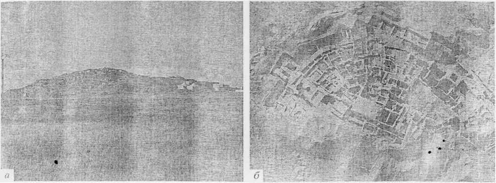 Рис. 2. Телль Хазна 1. Общий вид (я); фото с аэростата общего вида раскопок (б).